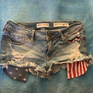 Bullhead Short Shorts with American flag pockets
